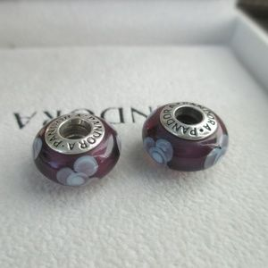 lot of 2 Pandora flowers for you purple